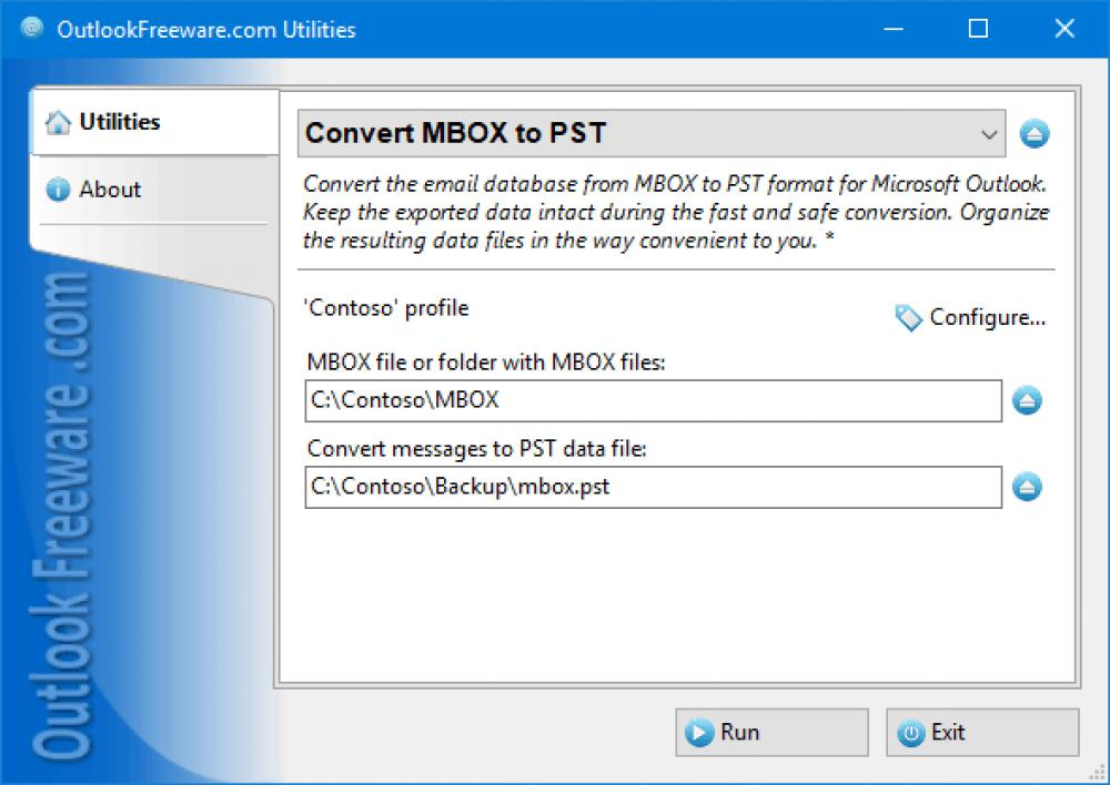Convert MBOX to PST for Outlook 4.15 (Freeware 0.32Mb)
