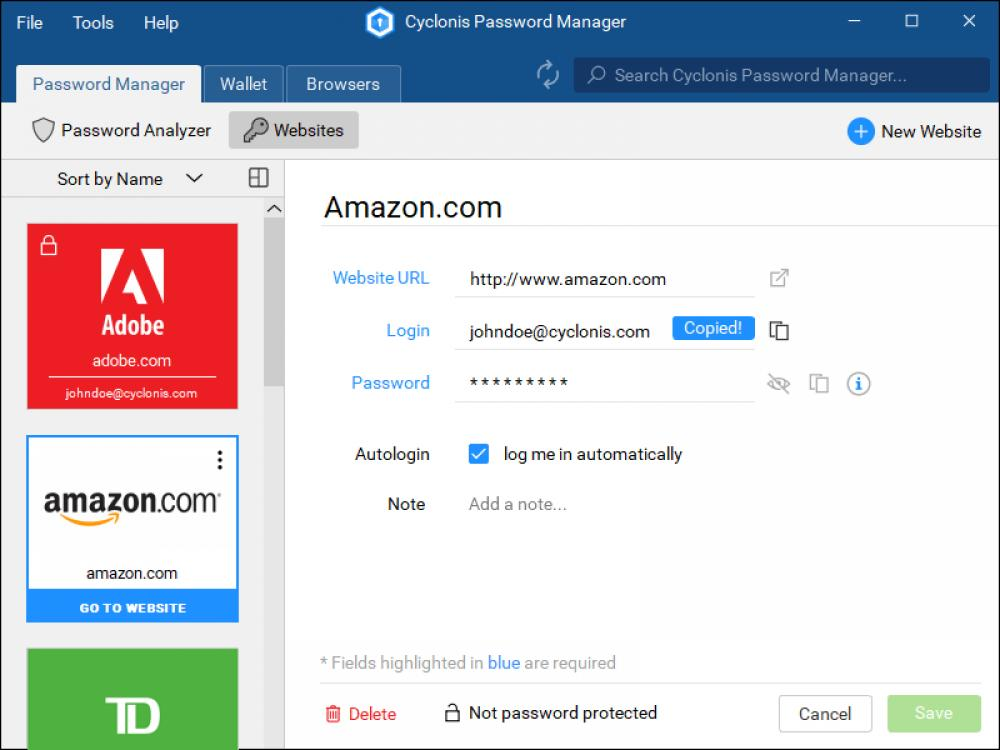 Cyclonis Password Manager 1.4.2.93 (Freeware 6.29Mb)