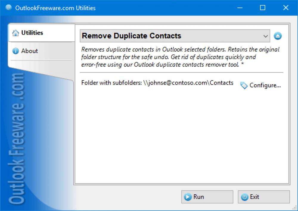 Remove Duplicate Contacts for Outlook 4.15 (Freeware 0.31Mb)