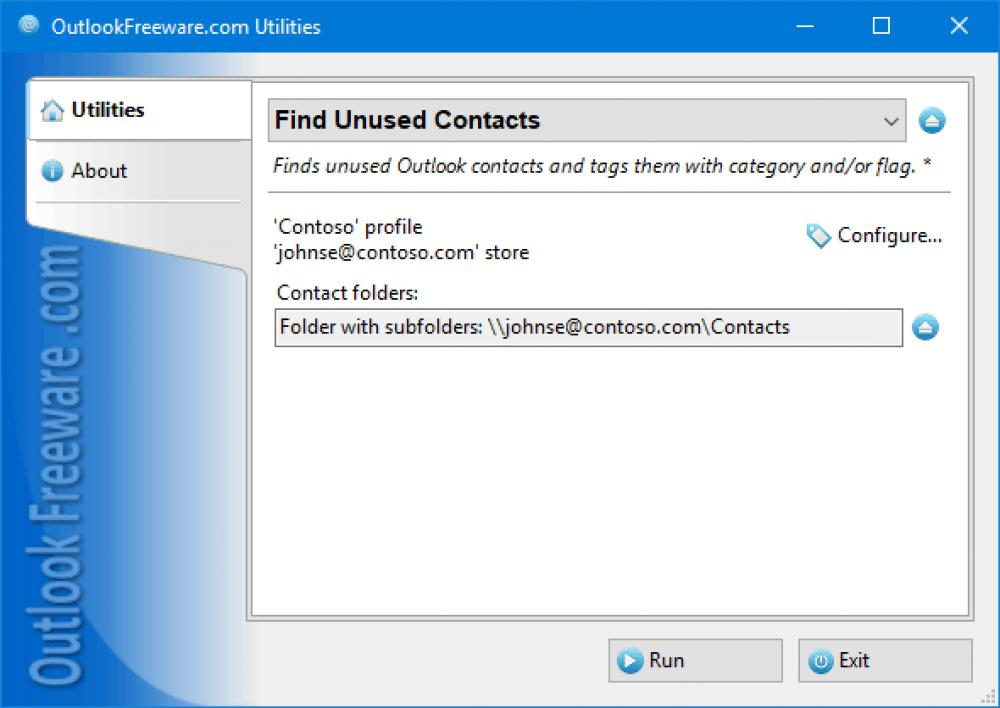 Find Unused Contacts for Outlook 4.14 (Freeware 0.31Mb)