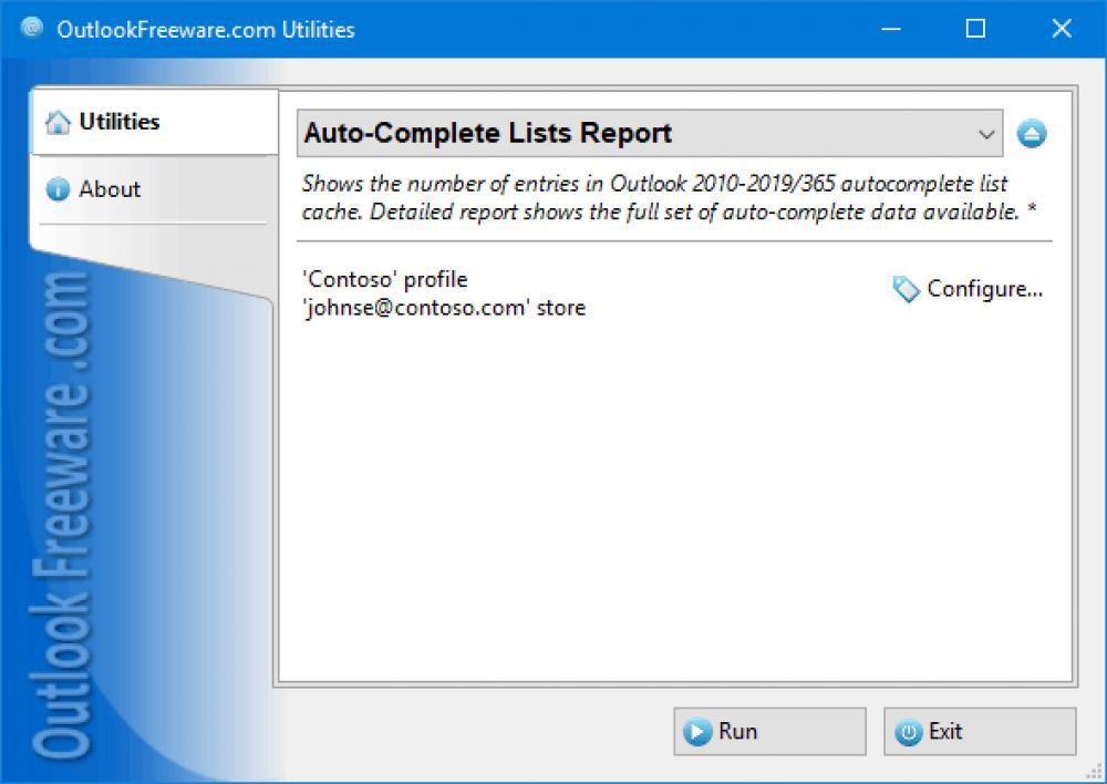 Auto-Complete Lists Report for Outlook 4.16 (Freeware 0.30Mb)