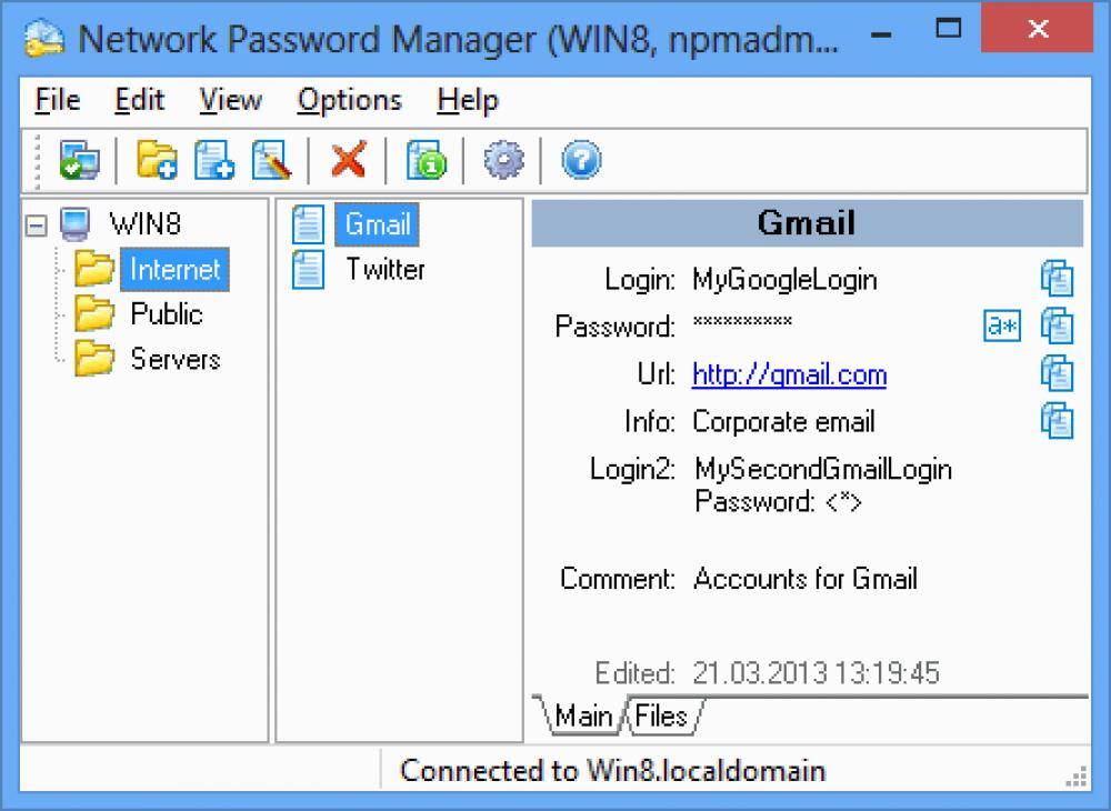 Network Password Manager 5.2 (Shareware 9.18Mb)