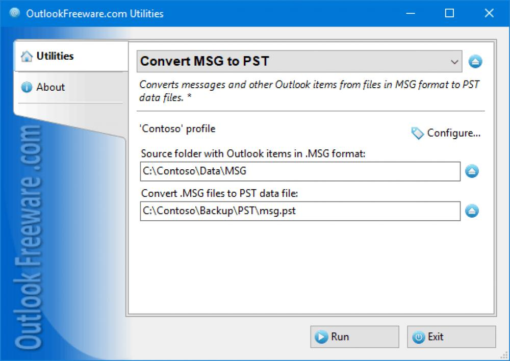 Convert MSG to PST for Outlook 4.16 (Freeware 0.31Mb)