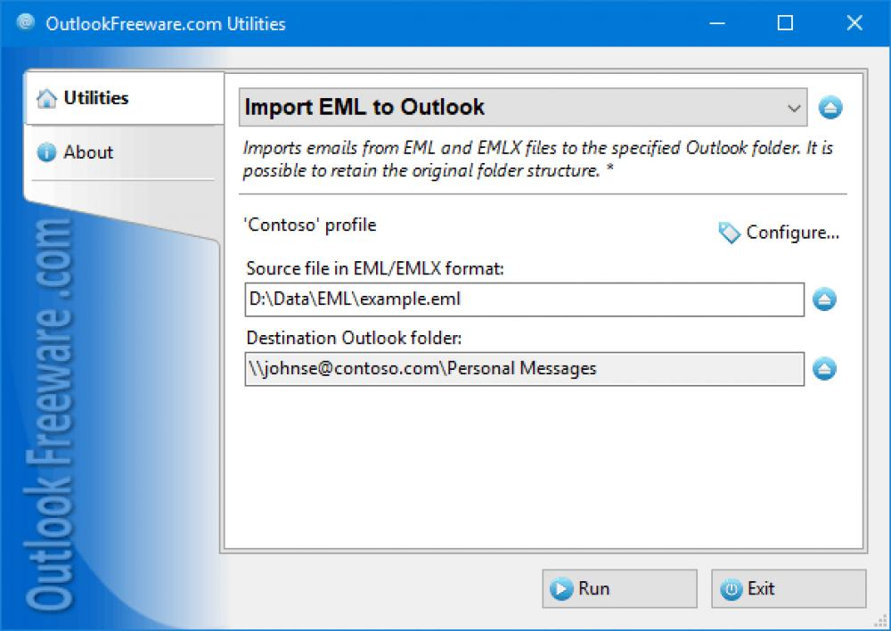 Import EML to Outlook 4.14 (Freeware 0.30Mb)