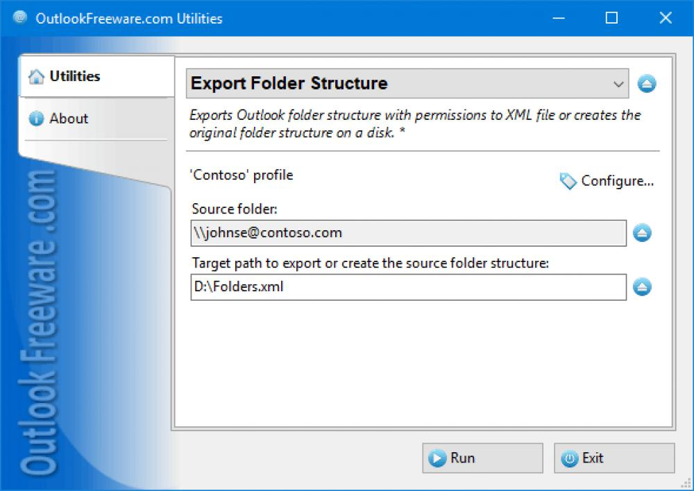 Export Folder Structure for Outlook 4.15 (Freeware 0.30Mb)