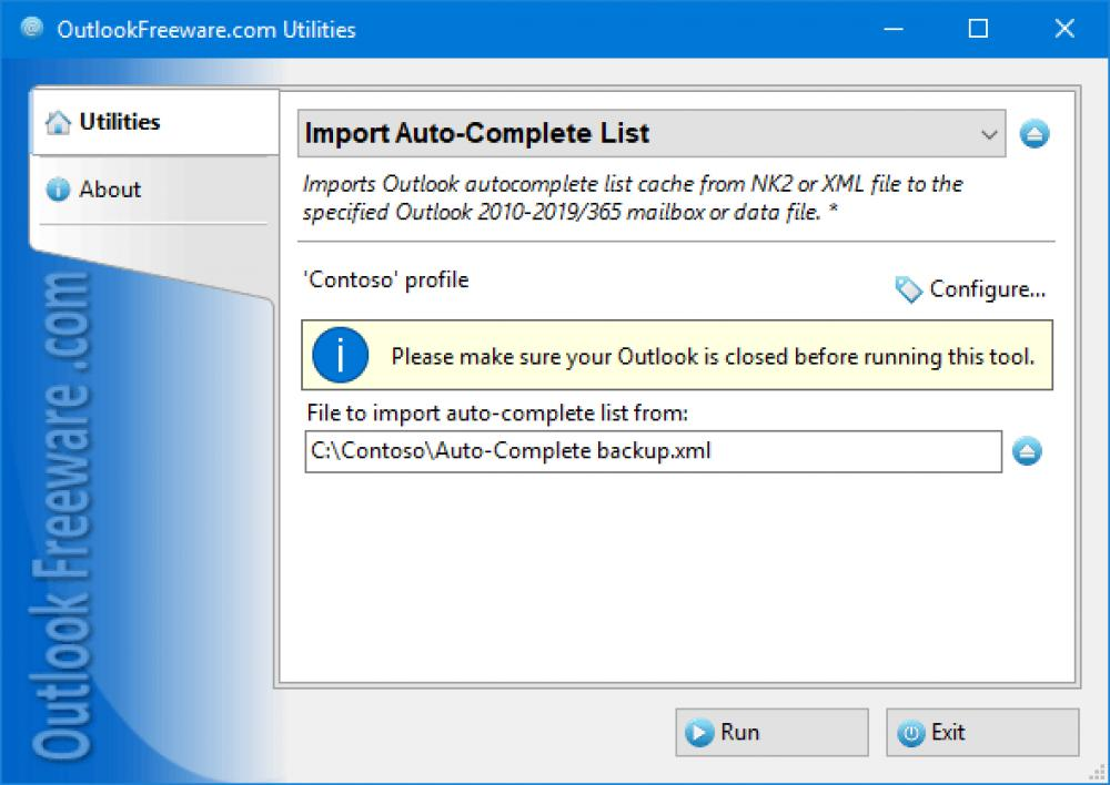 Import Auto-Complete List for Outlook 4.14 (Freeware 0.30Mb)