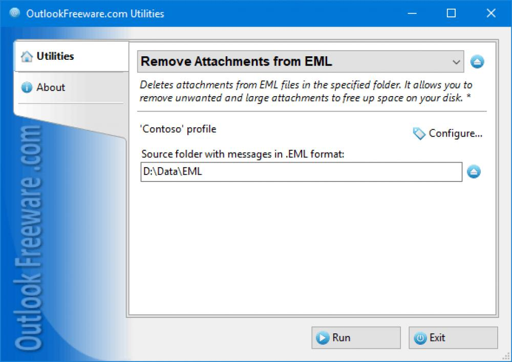 Remove Attachments from EML for Outlook 4.15 (Freeware 0.31Mb)