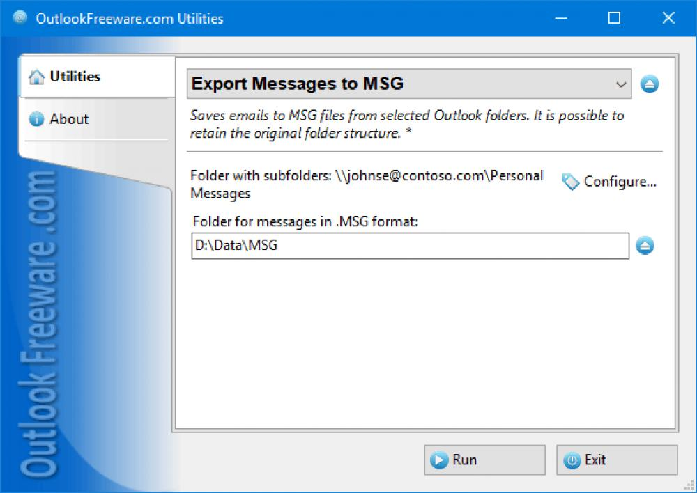 Export Messages to MSG for Outlook 4.15 (Freeware 0.31Mb)