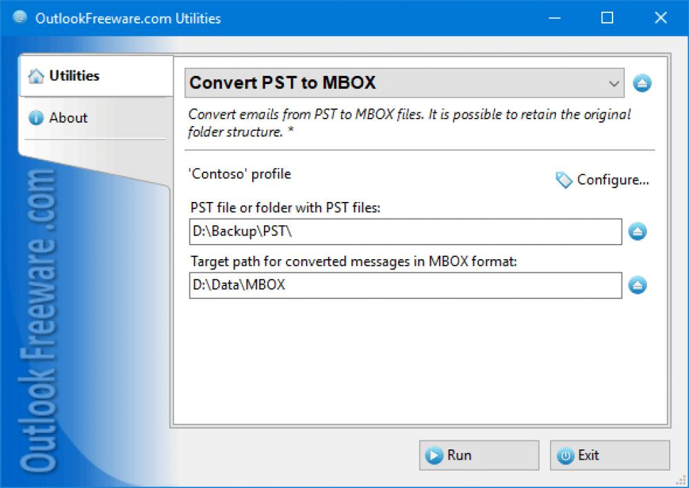 Convert PST to MBOX for Outlook 4.17 (Freeware 0.32Mb)