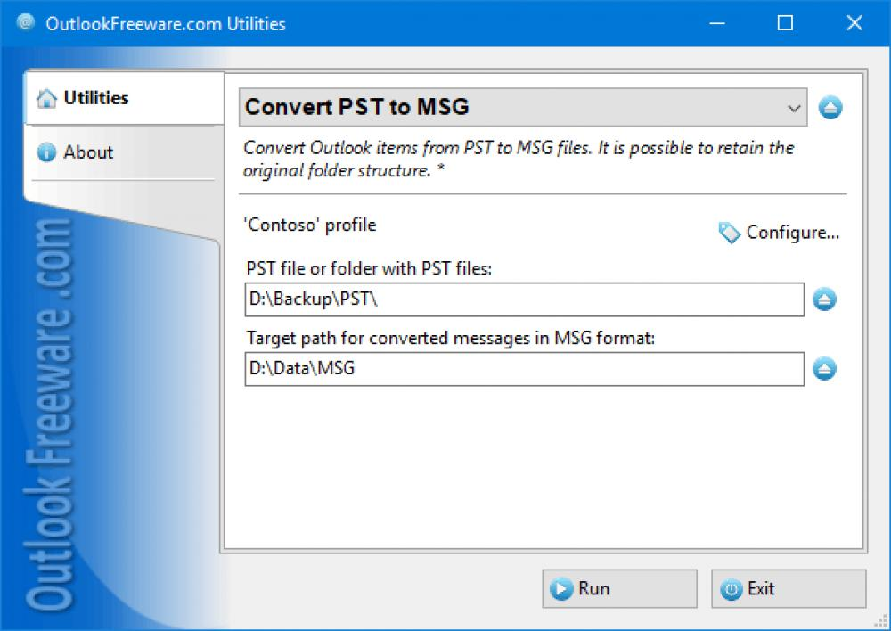 Convert PST to MSG for Outlook 4.17 (Freeware 0.32Mb)