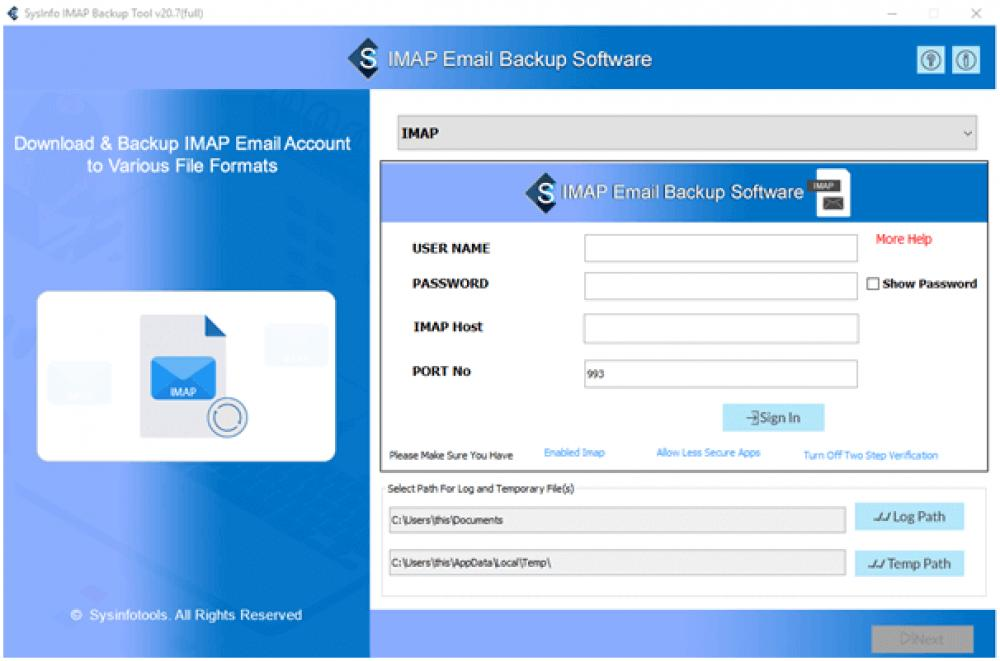 SysInfoTools IMAP Email Backup Software 20.0 (Shareware 107.73Mb)