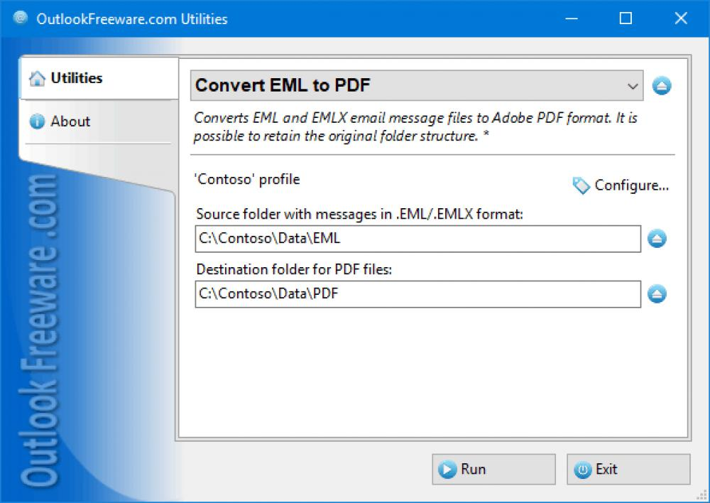 Convert EML to PDF for Outlook 4.17 (Freeware 0.32Mb)